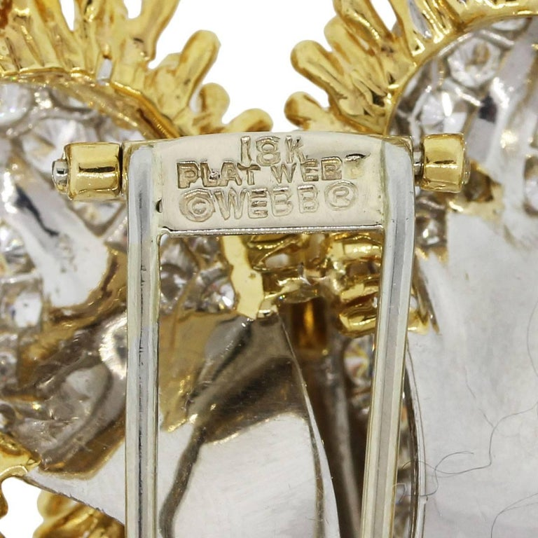 Women's David Webb 13 Carat Diamond Flower Design Brooch For Sale
