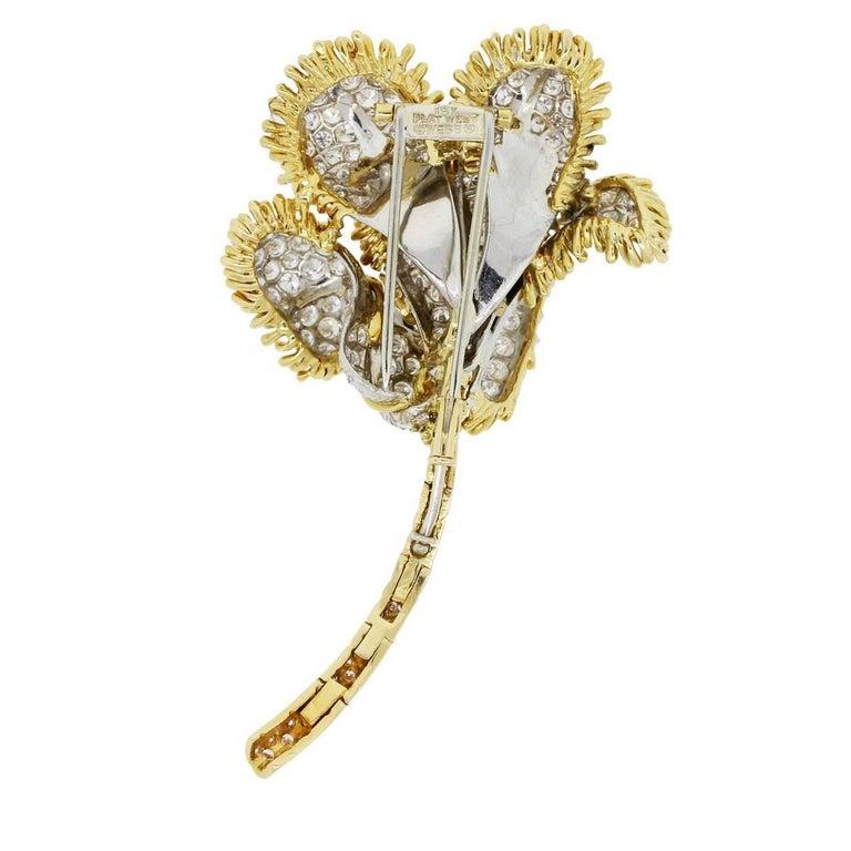 David Webb 13 Carat Diamond Flower Design Brooch In Excellent Condition For Sale In Boca Raton, FL