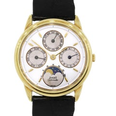Piaget Yellow Gold Vintage Annual Calendar Moonphase Wristwatch Ref 15958