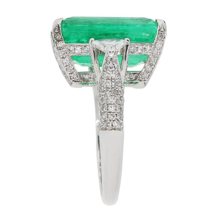 14 Carat Emerald Cut Emerald Diamond Ring At 1stdibs