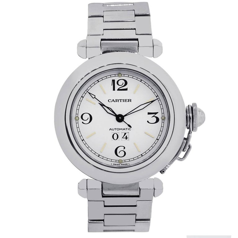 Brand: Cartier MPN: W31044M7 Model: Pasha Case Material: Stainless Steel Case Diameter: 35mm Crystal: Scratch resistant sapphire Bezel: Smooth fixed stainless steel bezel Dial: White dial with date displayed at 6 o' clock. Date, Hours, Minutes, and