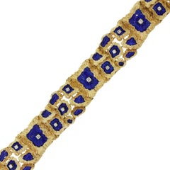 Diamond and Blue Enamel Wide Bracelet