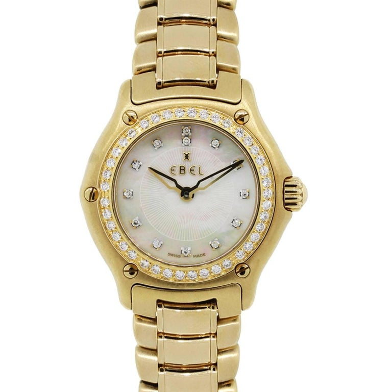 Ebel Ladies yellow gold Mother of pearl diamond dial 1911 Quartz Wristwatch  For Sale