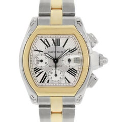 Cartier Yellow Gold Stainless Steel Roadster Chronograph Automatic Wristwatch