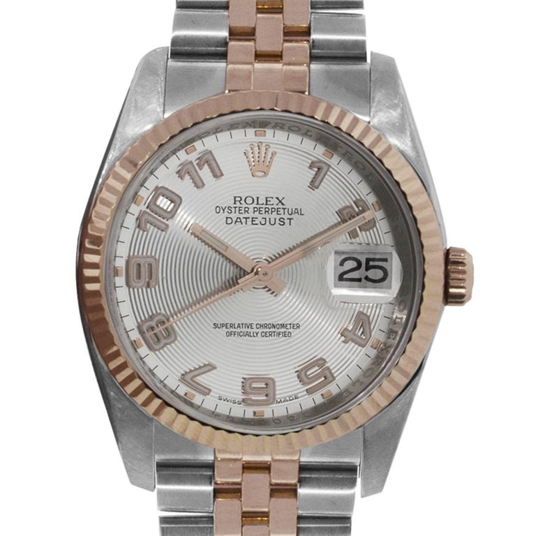 Rolex Rose Gold Stainless Steel Datejust Automatic Wristwatch Ref