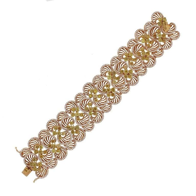 14.71 Carat Total Fancy Colored Diamond Circle Bracelet