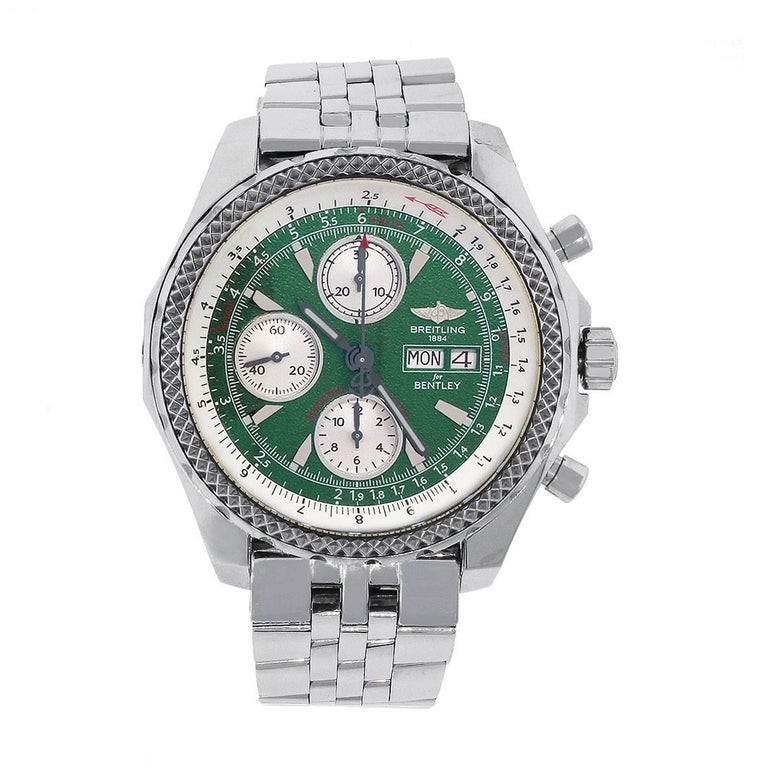 Breitling Stainless Steel Bentley Automatic Wristwatch Ref: Breitling Stainless Steel Bentley Green Dial Automatic