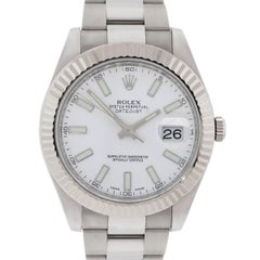 Rolex Stainless Steel Datejust II White Dial Automatic Wristwatch Ref 116334