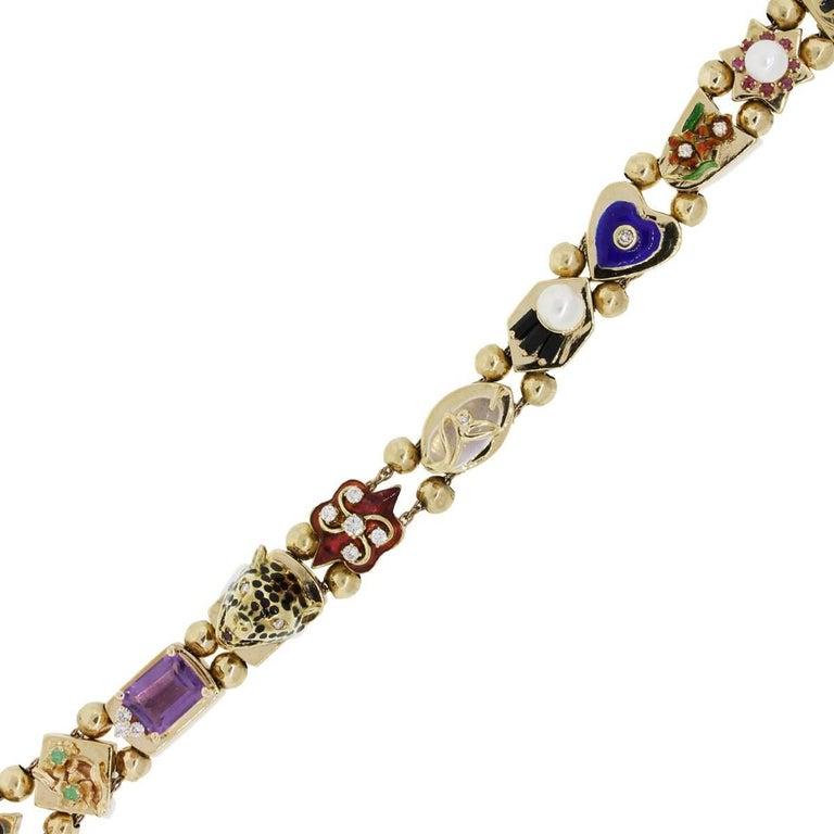 Diamond and Multi Gemstone Slide Bracelet