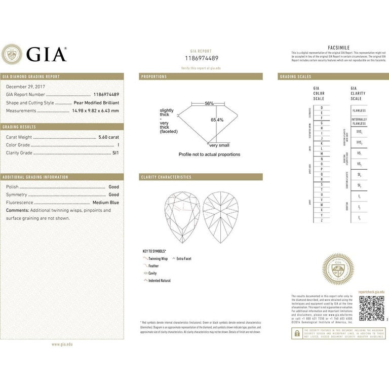 GIA Certified 5.60 Carat Pear Shape Diamond Engagement Ring For Sale 2