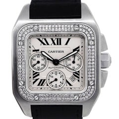 Cartier Stainless steel Santos 100 XL Diamond Bezel Automatic Wristwatch