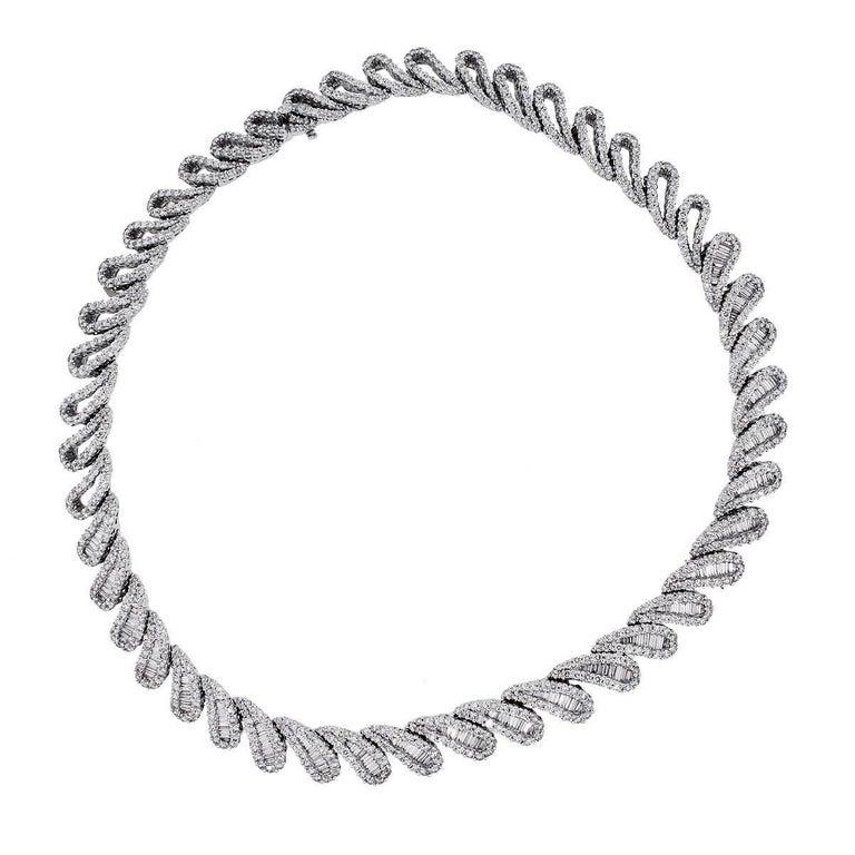 Baguette Cut 20 Carat Baguette and Round Brilliant Diamond Collar Necklace For Sale