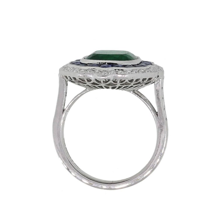 Cushion Cut GIA Certified 3.33 Carat Untreated Emerald, Sapphire, and Diamond Cocktail Ring For Sale