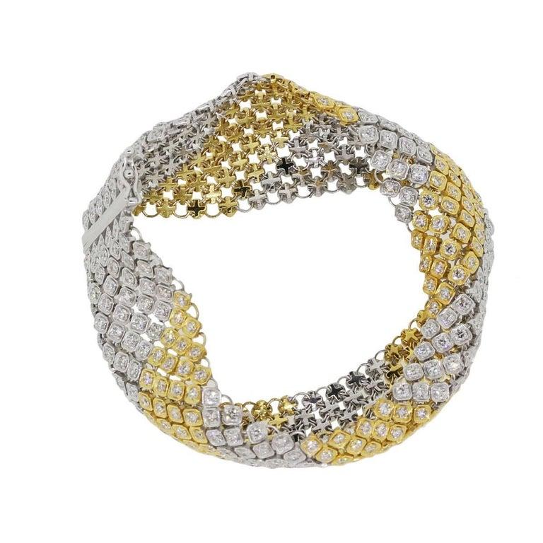 Round Cut Diamond Mesh Carpet Bracelet For Sale