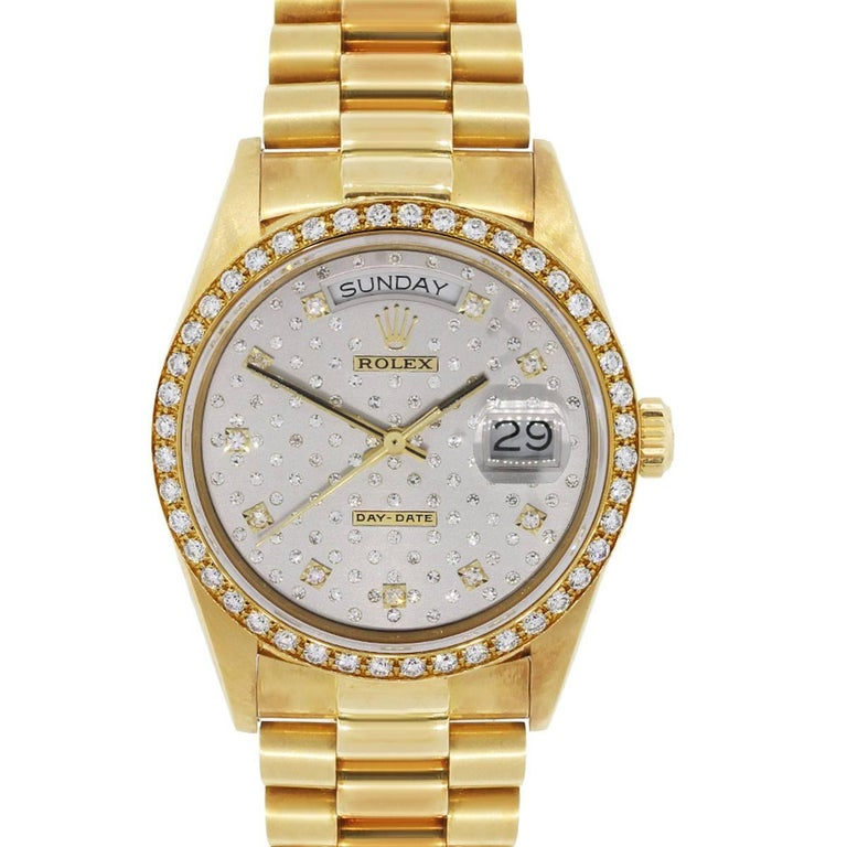 Rolex Yellow Gold Diamond Day Date Presidential Pleade Automatic Wristwatch