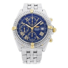Breitling Yellow Gold Stainless Steel Crosswind Blue Dial Automatic Wristwatch
