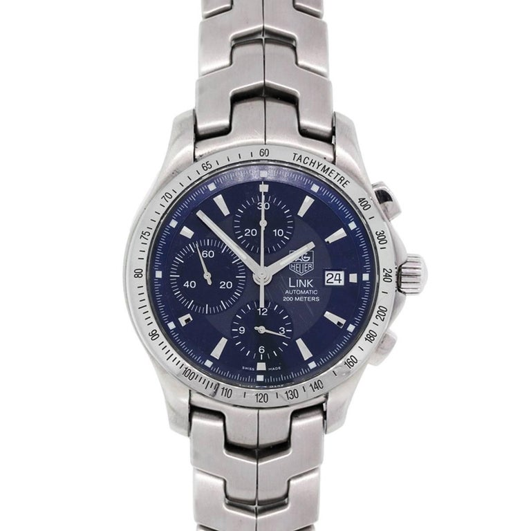 TAG Heuer Stainless Steel Blue dial Link Automatic Wristwatch Ref CJF2114-0