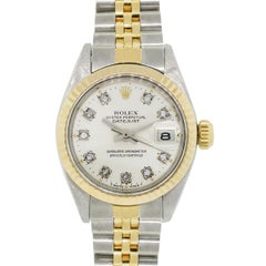 Rolex Yellow Gold Stainless Steel Diamond Datejust Automatic Wristwatch Ref 6916