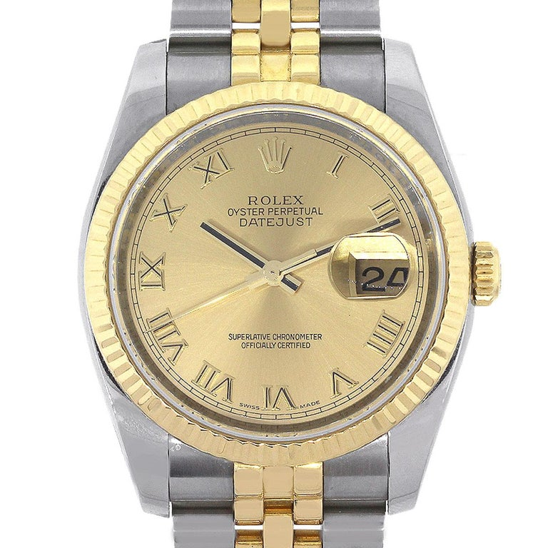 Rolex Yellow Gold Stainless Steel Champagne dial Datejust Automatic Wristwatch