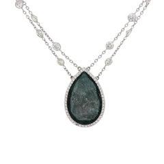 24.55 Carat Fancy Blue Pear Shape Diamond Necklace