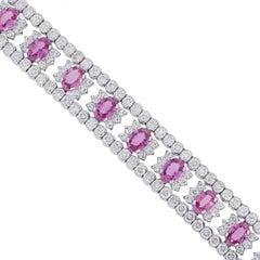 Oval Cut Pink Sapphire and Round Diamond Bracelet