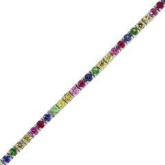 Diamond and Multi-Color Stone Tennis Bracelet