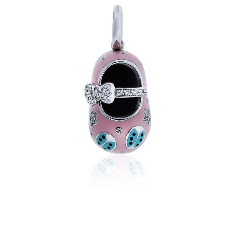 Aaron Basha White Gold Pink Enamel Diamond Baby Shoe Charm