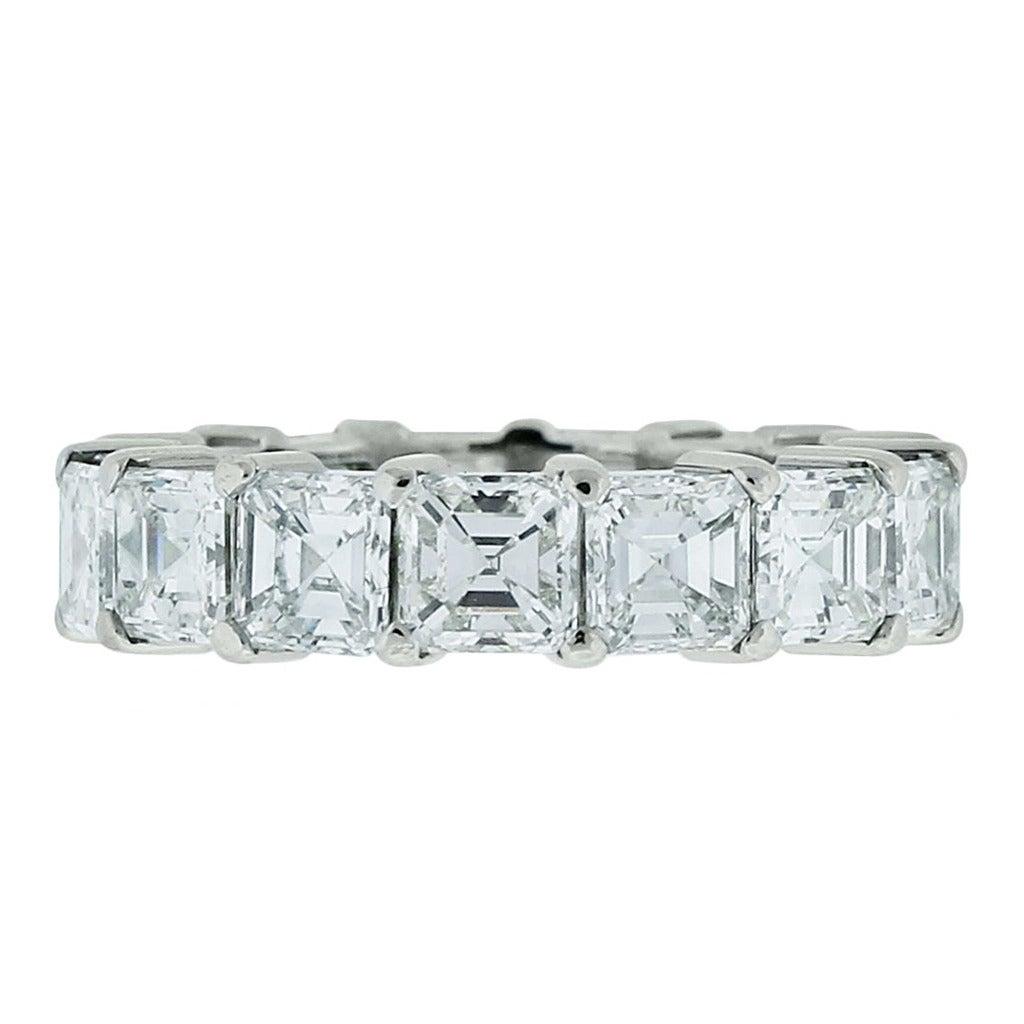 7 Carats Asscher Cut Diamond Platinum Eternity Band at 1stdibs