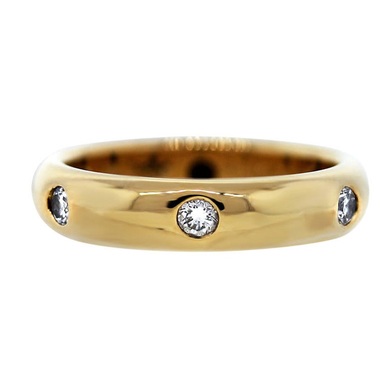 1992 Cartier Yellow Gold Diamond Wedding Band Ring For Sale