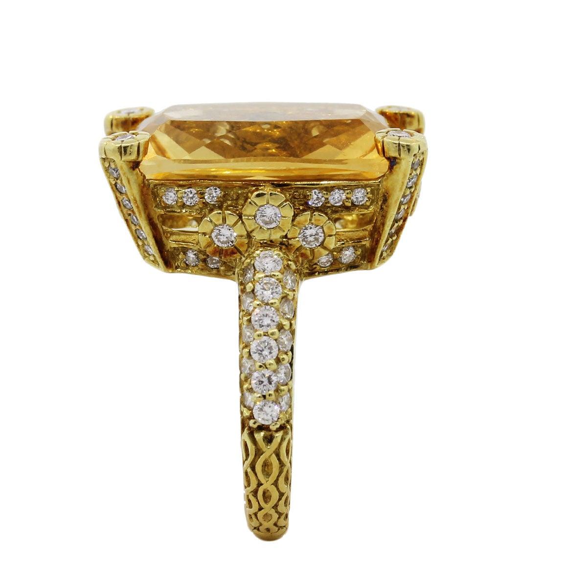Judith Ripka Madeira Citrine Diamond Gold Ring 3