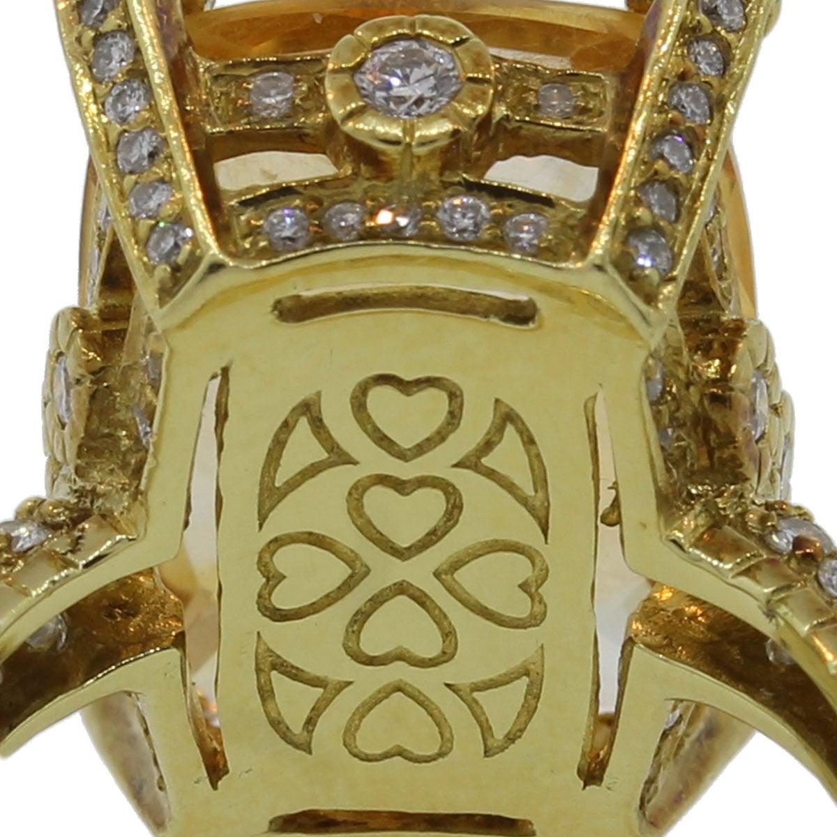 Judith Ripka Madeira Citrine Diamond Gold Ring 4