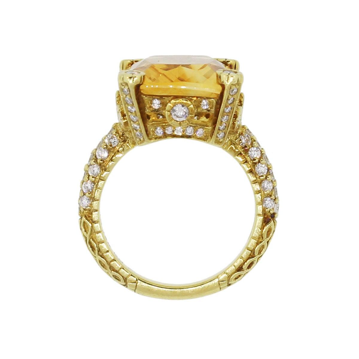 Judith Ripka Madeira Citrine Diamond Gold Ring 5