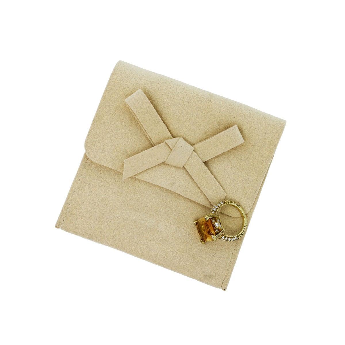 Judith Ripka Madeira Citrine Diamond Gold Ring 6