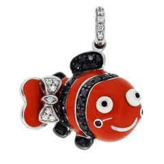 Aaron Basha Enamel White & Black Diamond Fish Pendant