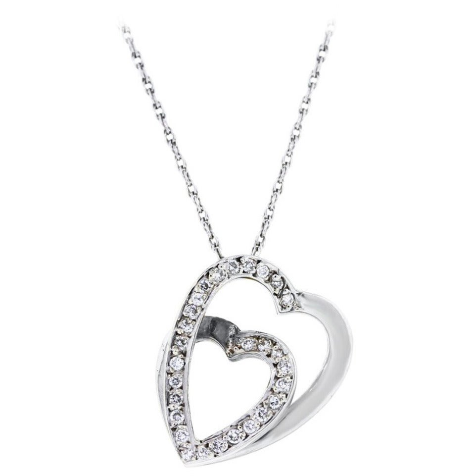 Cartier Diamond Gold Heart Slide Pendant on Necklace