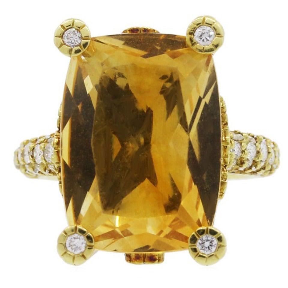 Judith Ripka Madeira Citrine Diamond Gold Ring 1