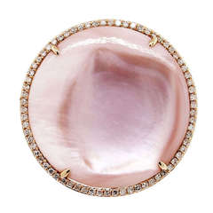 Rose Gold Pink Mother of Pearl Diamond Ring