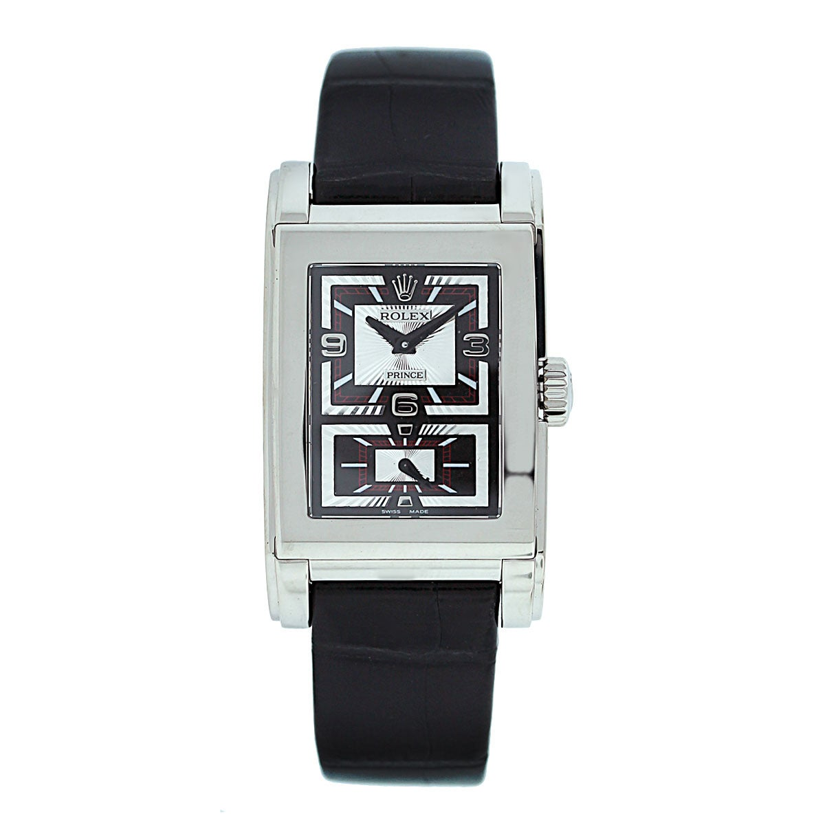 """Brand: Rolex Model: Cellini Prince 5443/9 18K White Gold Mens Watch Material: 18K White Gold Dial: Black and silvered dial, with a double """"rayon flammé de la gloire"""" guilloche Bezel: 18K white gold fixed rectangular Case Measurements:"""