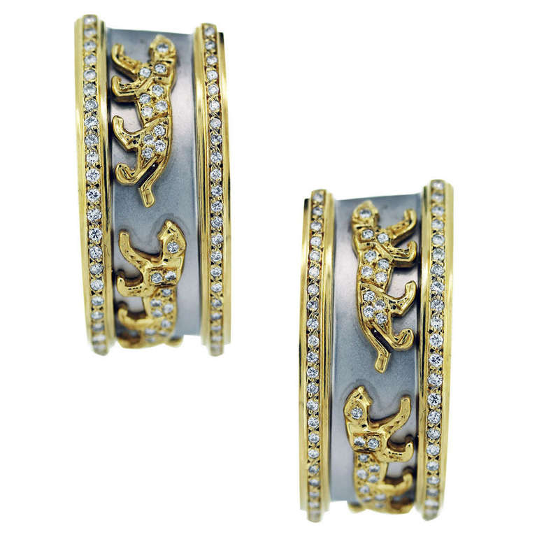 Two Tone Gold and Diamond Panther Design Earrings