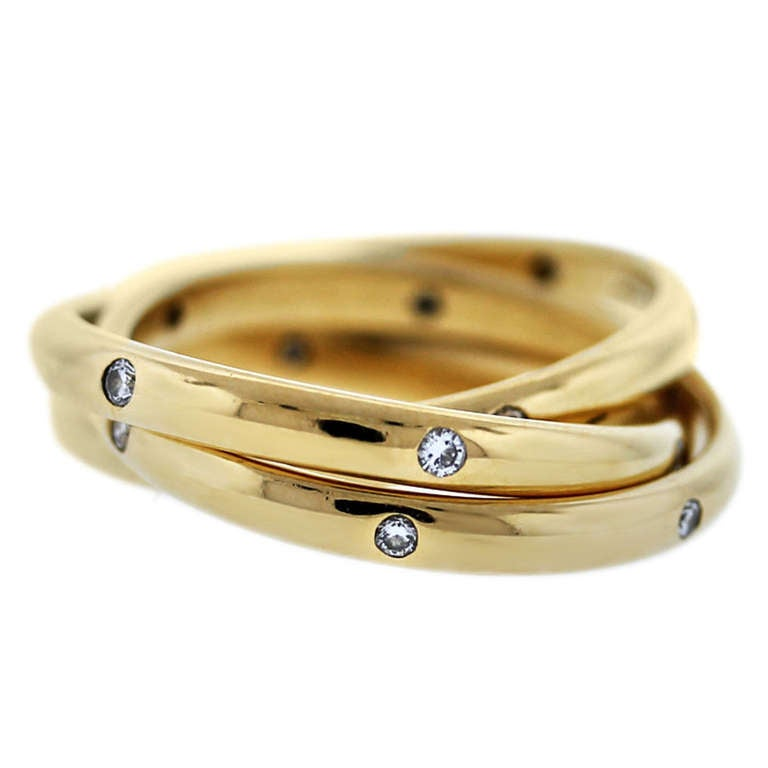 e4135033b77d Cartier 18k Yellow Gold Diamond Constellation Trinity Ring at 1stdibs