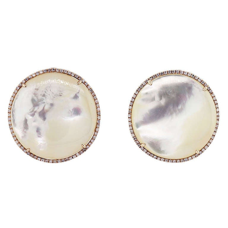 Rose Gold Diamond Mother of Pearl Button Earrings