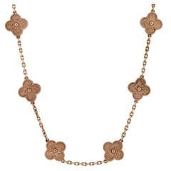 Van Cleef & Arpels 10 Motif Vintage Alhambra 18k Rose Gold Necklace