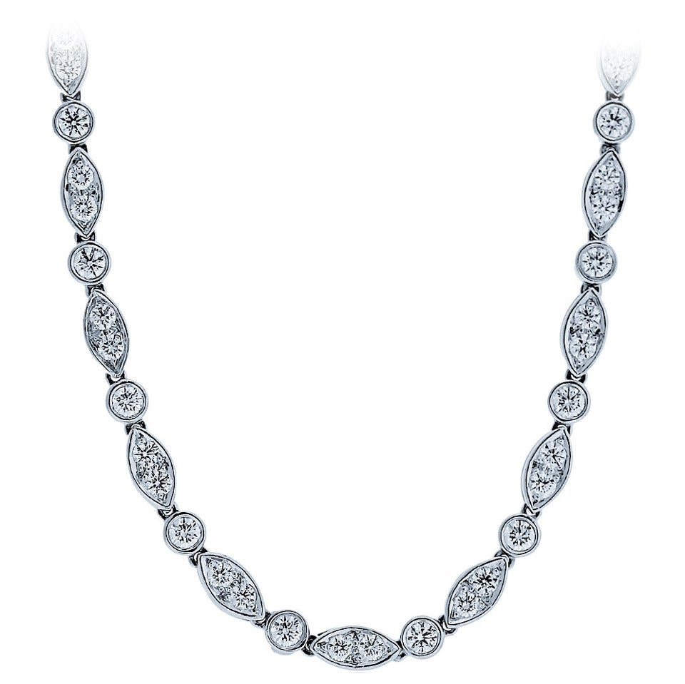 "Tiffany & Co. Swing Collection Platinum and Diamond 24"" Necklace"