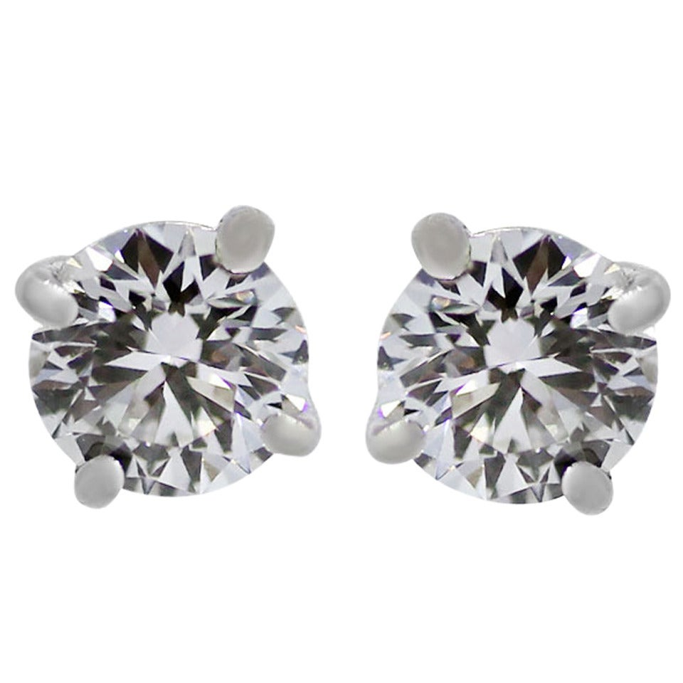 Tiffany & Co. 1.16 Carat Diamond Gold Stud Earrings For Sale