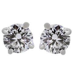 Tiffany & Co. 1.16 Carat Diamond Gold Stud Earrings