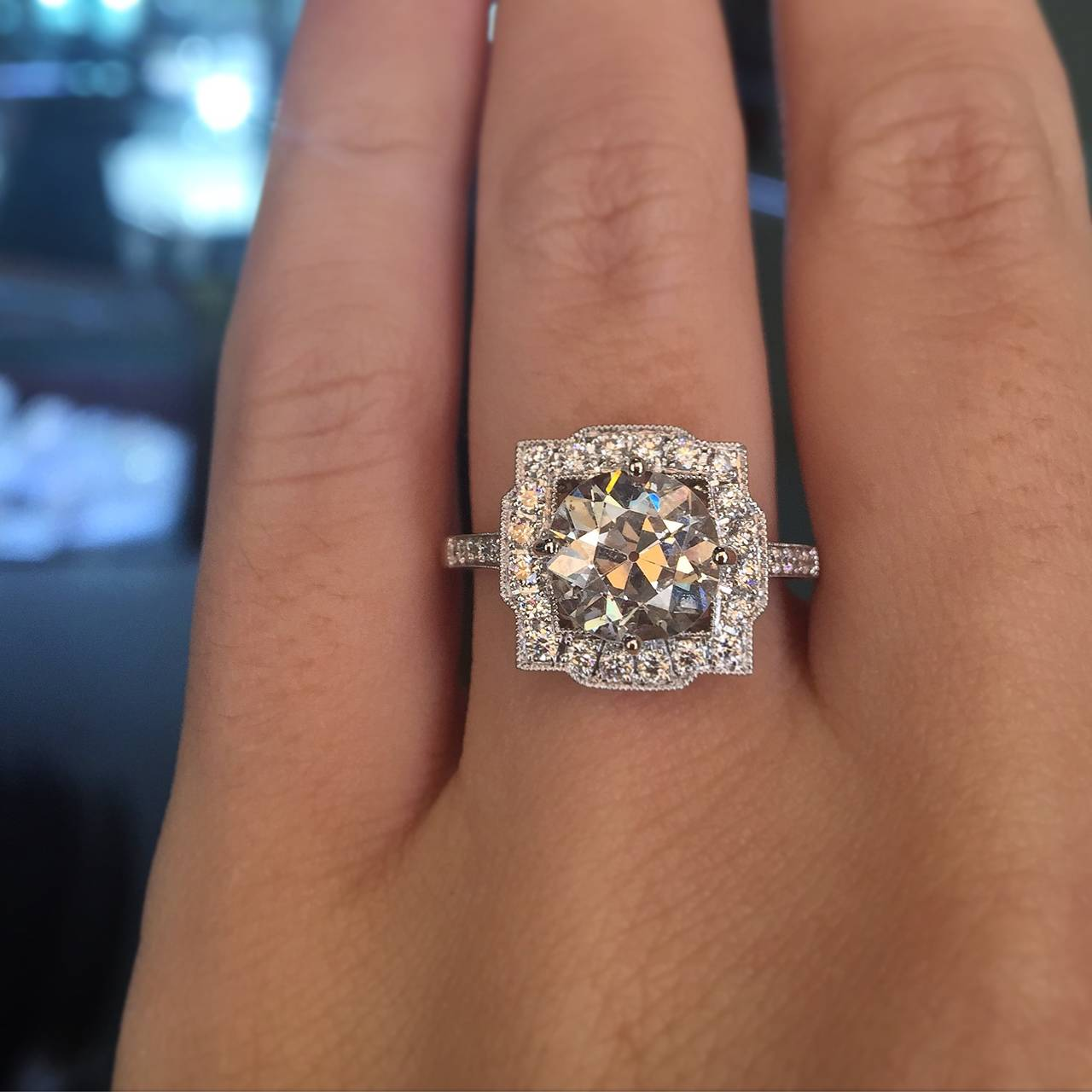 2 10 Carat Old European Diamond Platinum Halo Engagement