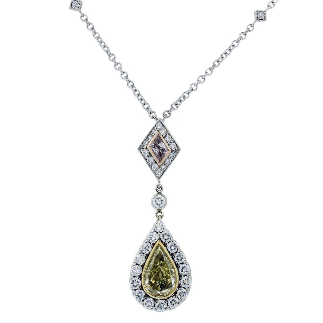 Christopher Designs Diamond Three Color Gold Necklace