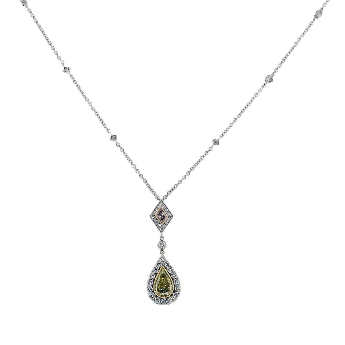 Brand: Christopher Designs Style: 18k Tri Gold Diamond Necklace Material: 18k Tri Gold Diamond Details: Approximately 2.45ctw of Crisscut, Pear shape and Trapezoid shape diamonds. Diamonds are Fancy Yellow, Fancy Purple and G/H in color and VS in