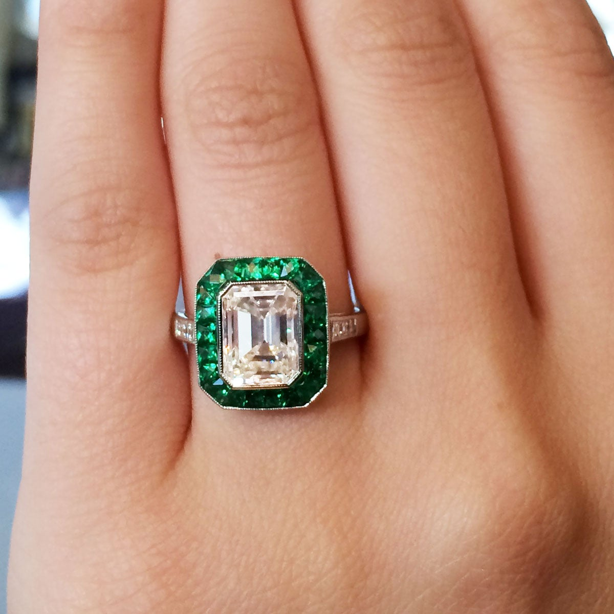 2 51 Carat Emerald Cut Diamond Emerald Halo Platinum Engagement Ring at 1stdibs