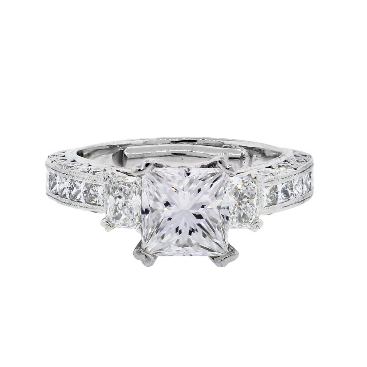 tacori platinum 1 71 carat cert princess cut